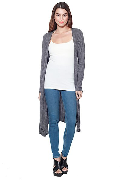 Long Ribbed Knit Cardigan with Waist Tie-Charcoal