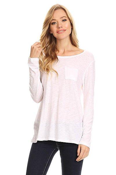 Casual Slub Burnout Long Slv T-Shirt Top w/ Pocket-White