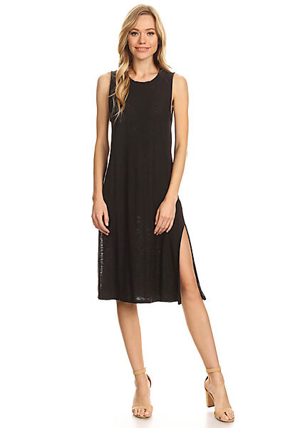 Casual Slub Burnout Sexy Midi Tank Dress w/ Slits-Black