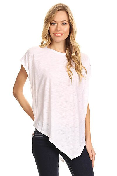 Casual Slub Burnout Cap Slv Loose T-Shirt Top-White