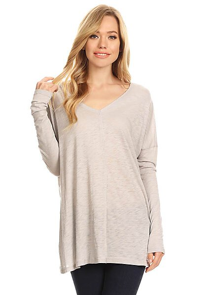 Casual Slub Burnout V-Nk Long Sleeve Loose T-Shirt Top-Silver