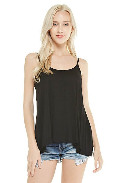 Basic Flare Spaghetti Cami Tank Top w Raw Hemline-Black
