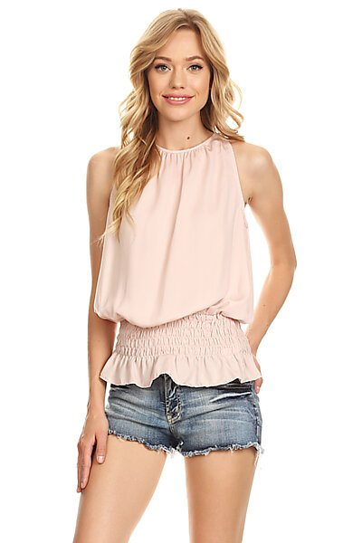 Sexy Smocked Waist Sleeveless Woven Tank Blouse Top-Blush