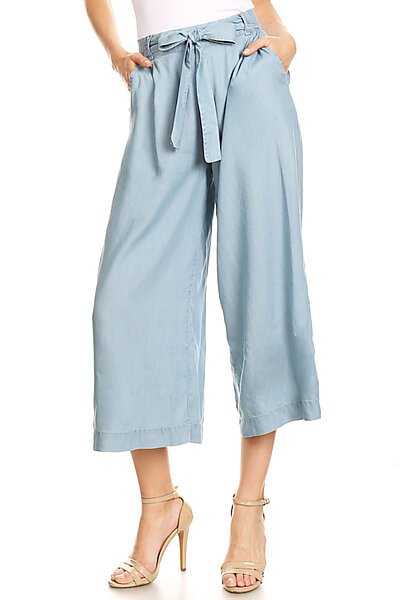 Casual Light Denim Culotte Capri Pants W Pockets-Light Blue