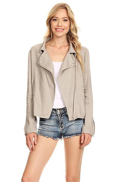Sexy Woven Linen Moto Style Blazer Jacket w/ Pocket-Grey