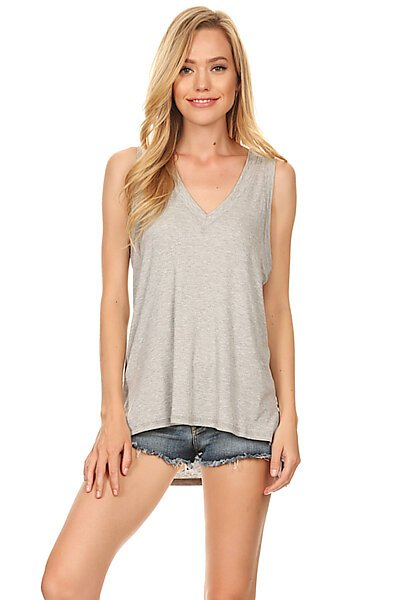 Sexy Casual Ribbed V-Neck T-Shirt Tank Top-Heather Grey