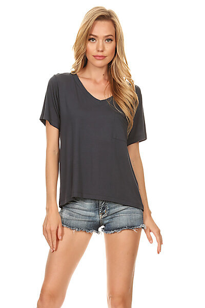 Casual Light Ribbed V-Neck Loose T-Shirt Top-Charcoal Navy