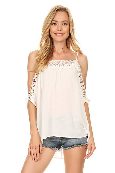 Sexy Woven Lace Off The Shoulder Cami Blouse Top- Off White