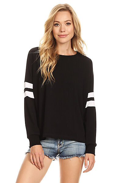 Casual Stripe Crewneck Pullover Sweatshirt Top-Black