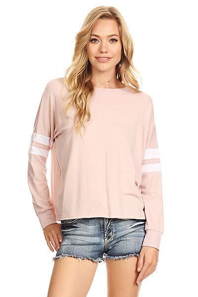 Casual Stripe Crewneck Pullover Sweatshirt Top-Dusty Pink