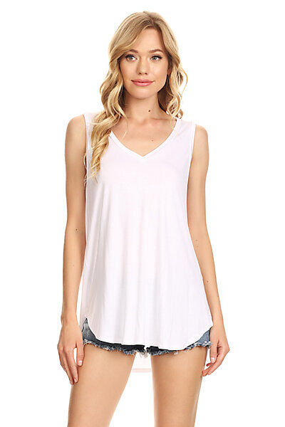 Casual Loose Knit V-neck Tank with Uneven Hem-White