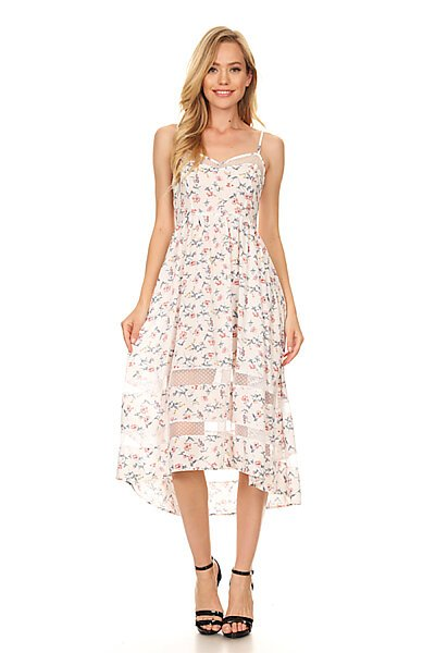 Casual Floral Summer Sexy Swing Dress W/ Mesh Panels-White