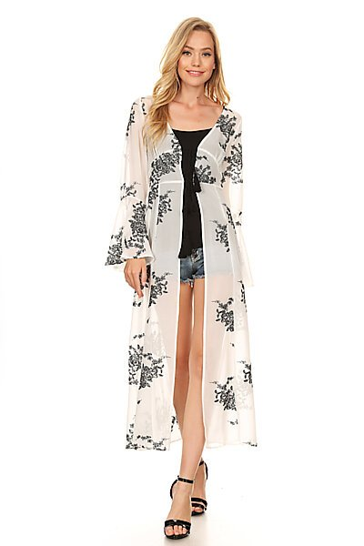 Sexy Woven Embroidered Kimono Duster Cardigan Top-White Black