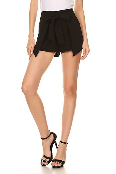 Casual Classic Dressy Woven Shorts w/ Front Bow Tie-Black