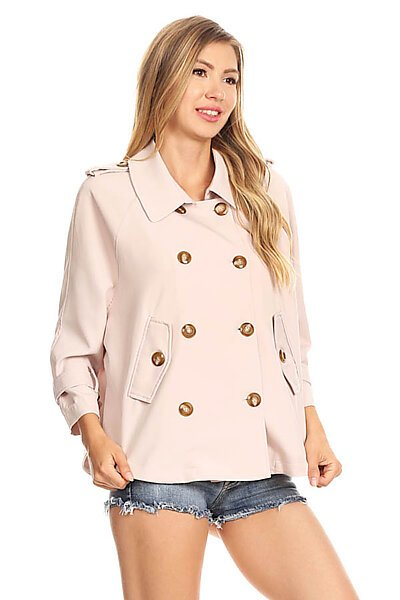 Casual Double Breasted Spring Blazer Suit Jacket-Blush Sand