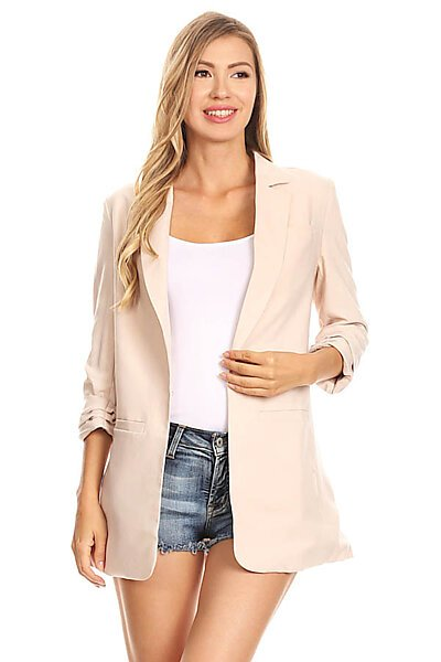Open Suit Blazer Jacket w/ 3/4 Cuff Sleeves-Sand