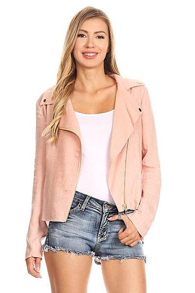 Sexy Woven Linen Moto Style Blazer Jacket w/ Pocket-Coral