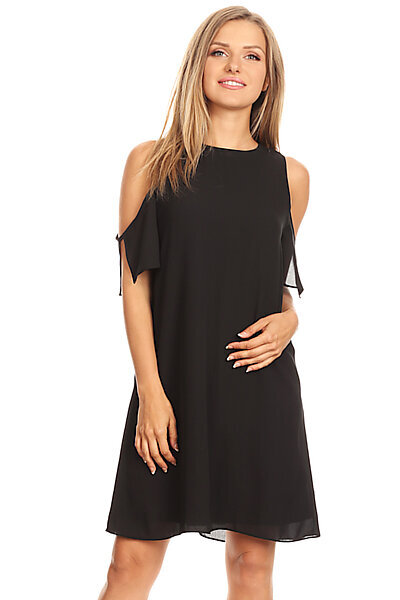 Sexy Cold Shoulder Chiffon Shift Dress W Bk Keyhole-Black