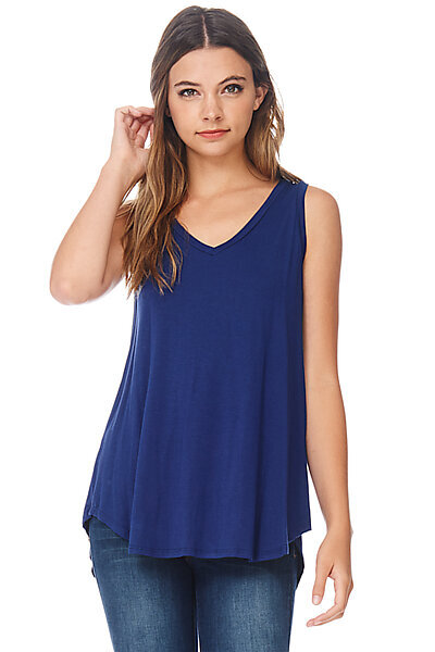Casual Loose Knit V-neck Tank with Uneven Hem-Estate Blue