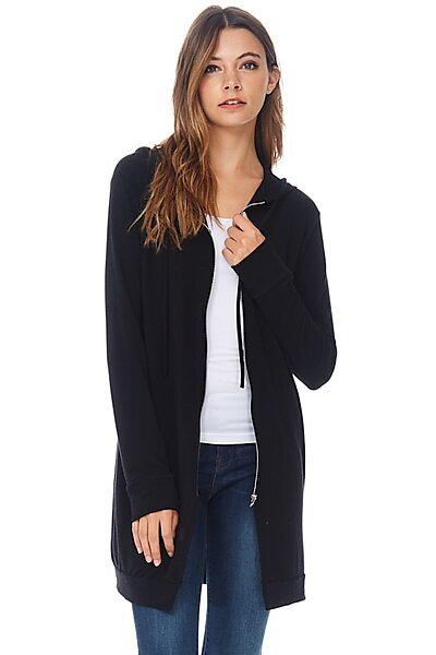 Casual Zipper Long Hoodie Tunic Sweatshirt-Black