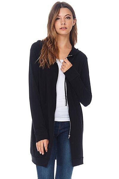 Casual Zipper Long Hoodie Tunic Sweatshirt-Black
