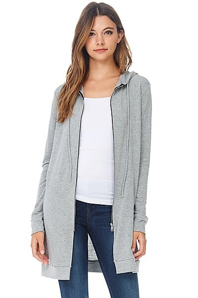 Casual Zipper Long Hoodie Tunic Sweatshirt-Heather Grey