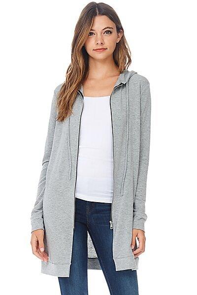 Casual Zipper Long Hoodie Tunic Sweatshirt-Heather Grey