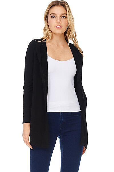 French Terry Open Front Hoodie Cardigan Jacket Top-Black