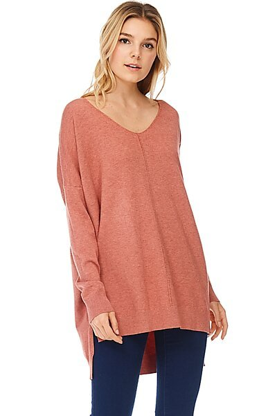Oversized V-Neck Pullover Sweater Top W Slight Hi-Low-Heather Coral