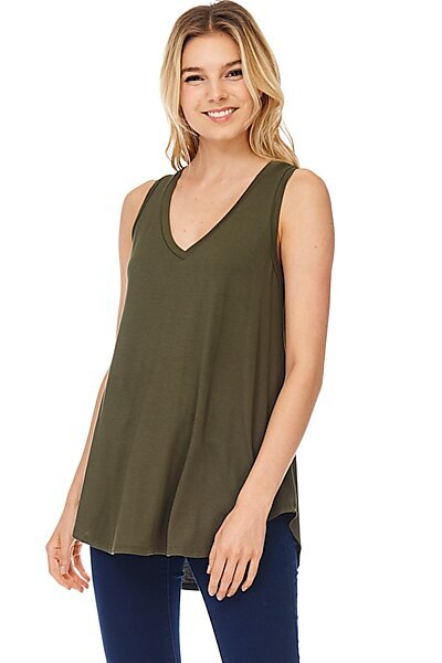 Casual Loose Knit V-neck Tank with Uneven Hem-Olive