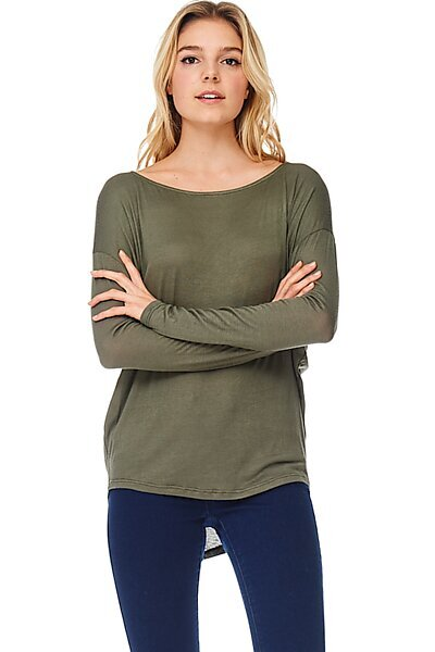 Thin Knit Dolman Sleeve Top W/ Round Hem-Olive