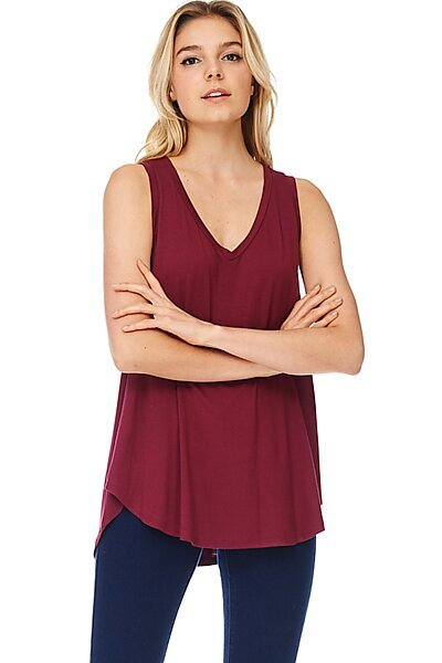 Casual Loose Knit V-neck Tank with Uneven Hem-Wine