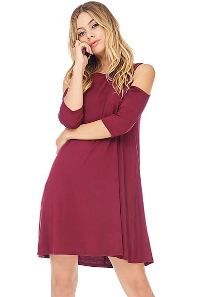 Half Sleeve Crewneck Swing Dress w/ Cold Shoulders-Wine