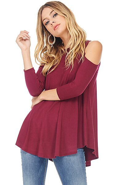 Sexy Jersey 3/4 Sleeve Cold Shoulder Blouse Top-Wine