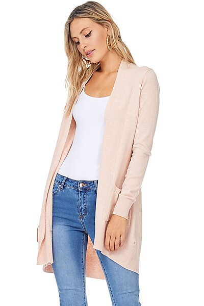 Basic Open Front Knit Cardigan With Pockets-Blush