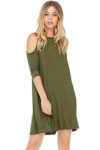Half Sleeve Crewneck Swing Dress w/ Cold Shoulders-Olive