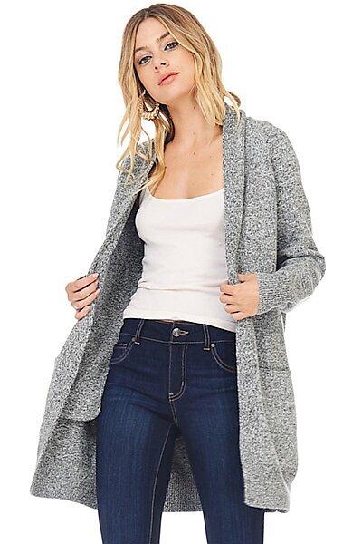 Casual Oversized Knit Cardigan Sweater W/ Pockets-Black/White