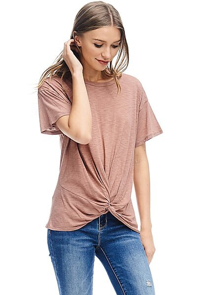 Basic Short Sleeve Front Knot Cotton Slub Knit Top-Rust