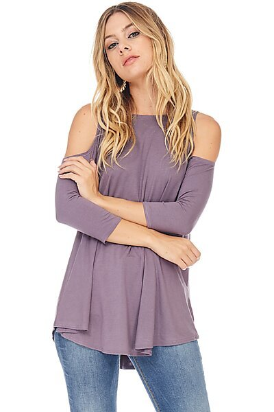 Sexy Jersey 3/4 Sleeve Cold Shoulder Blouse Top-Purple Taupe