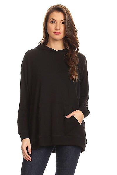 Casual Loose Pullover Hoodie Sweatshirt Jacket-Black