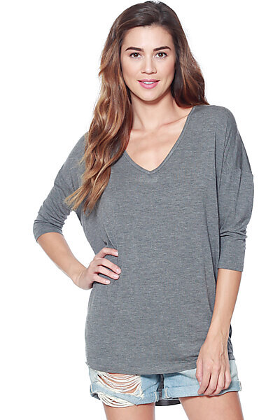 Oversized Knit V-neck Tunic Top W/ Dolman Sleeves-Charcoal
