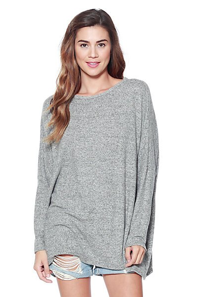 Oversized Boxy Brushed Knit Dolman Sweater Top-Heather Grey