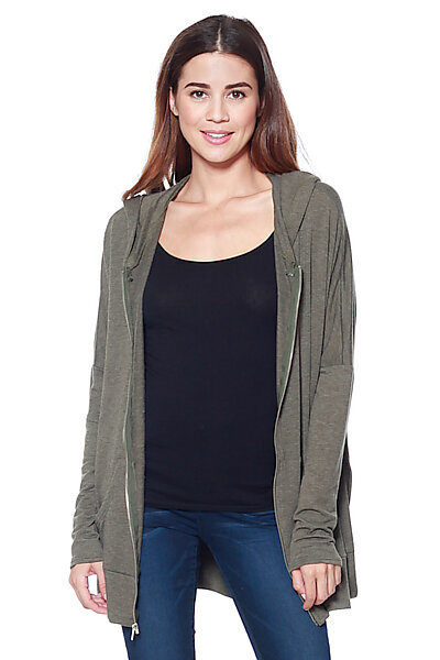 Oversized Knit Zipper Hoodie W/ High Side Slits-Olive