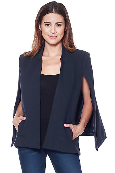 Structured Cape Blazer w/ Pockets-Navy