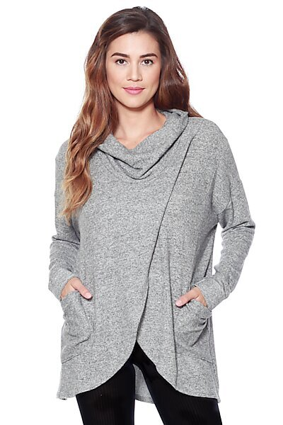 Casual Brushed/Rib Combo Knit Cowl Sweater Top-Heather Grey