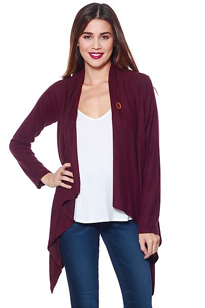 Soft Brushed Knit Single Button Long Sleeve Cardigan-Burgundy
