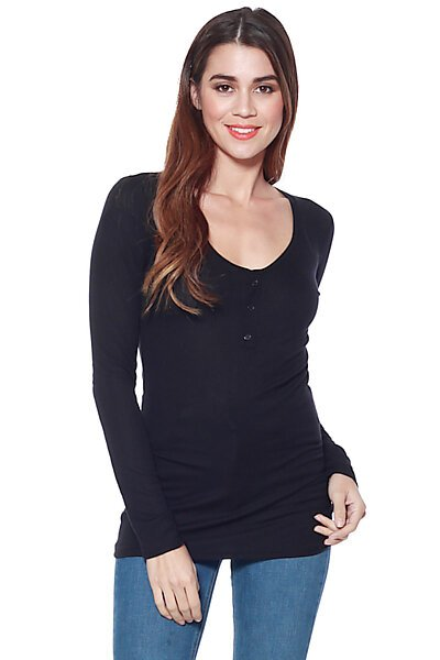 Long Sleeve Buttoned Henley Thin Ribbed Knit Top-Black