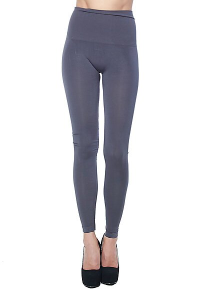 Soft Full Length Wide Waist Band Modal Knit Leggings-Charcoal