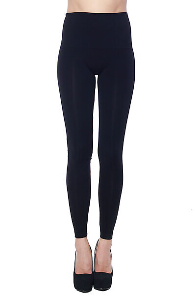 Soft Full Length Wide Waist Band Modal Knit Leggings-Black