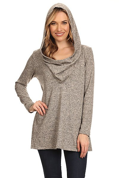 Brushed Long Sleeve Cowl Neck Sweater Tunic W/ Hoodie-Taupe